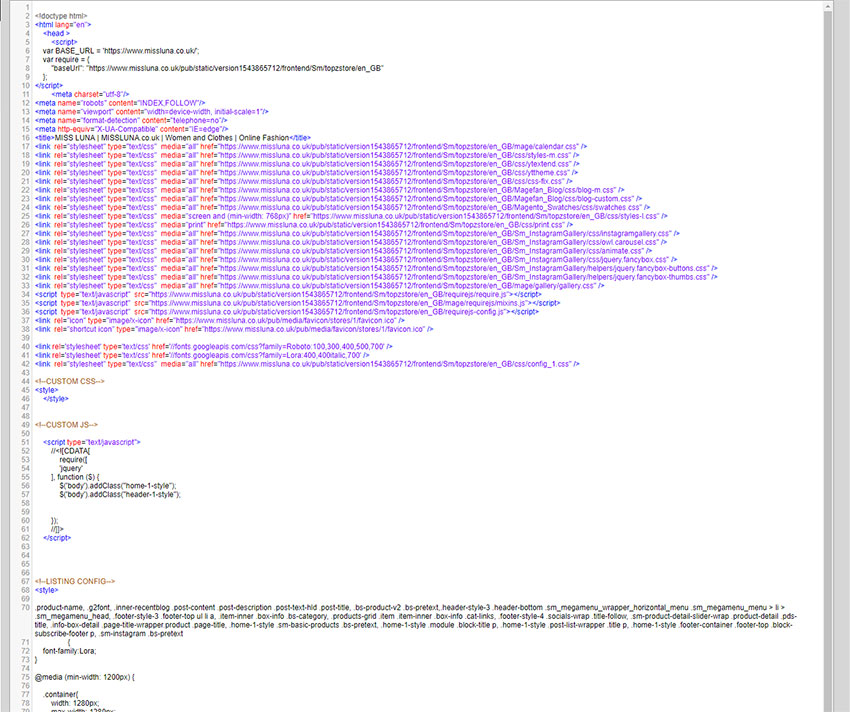 Missluna Magento Source Code